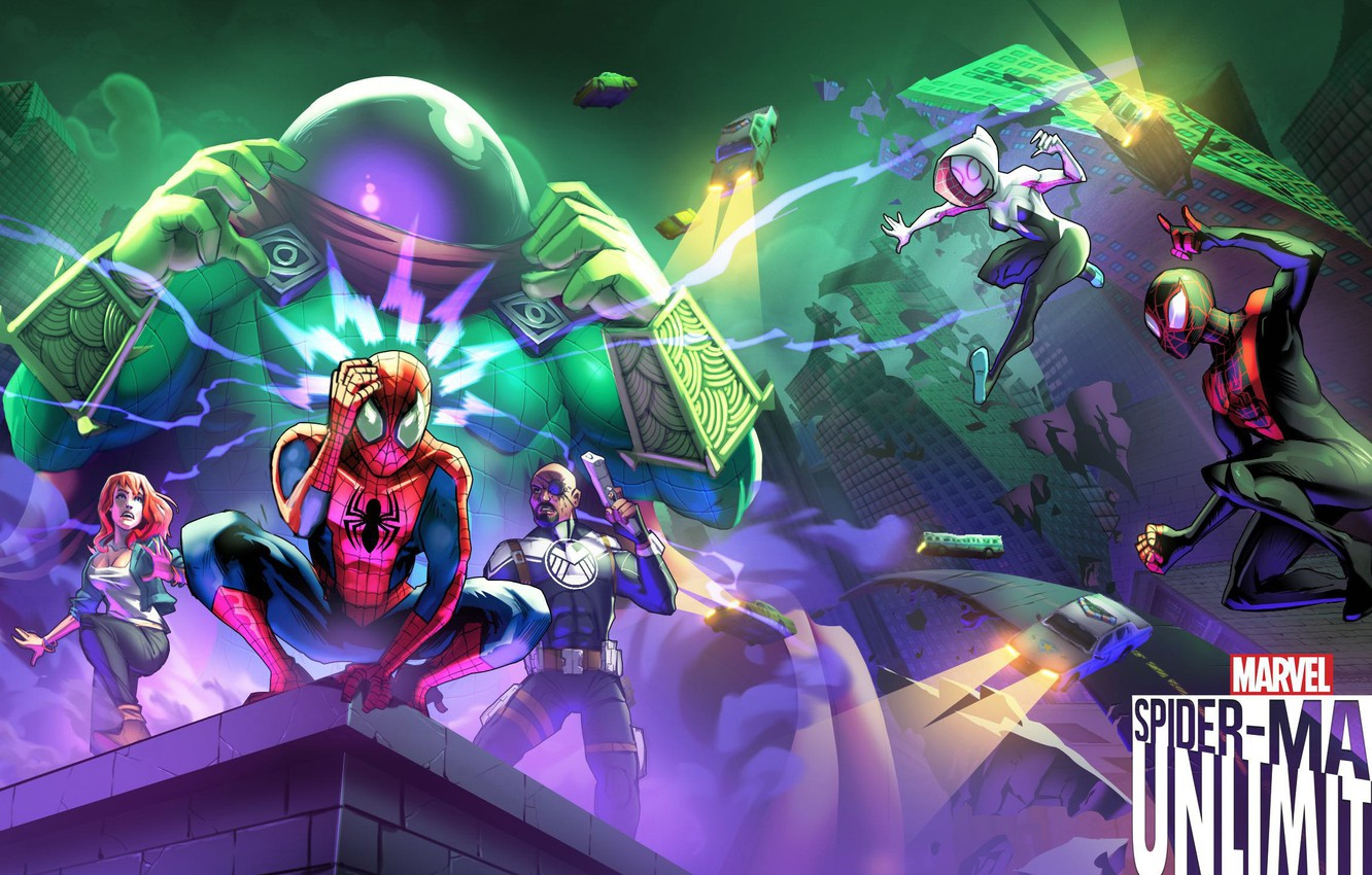 Photo wallpaper game, android, Marvel, IOS, spider-man unlimited, spider-verse, Gameloft