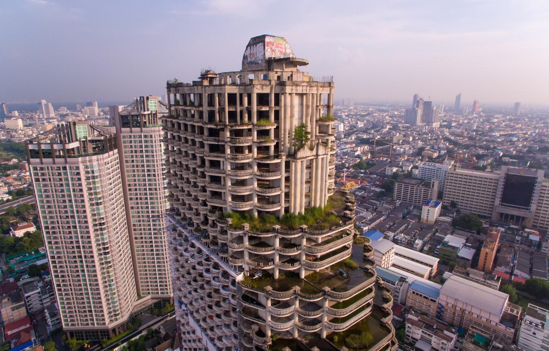 Photo wallpaper city, building, abandoned, vegetation