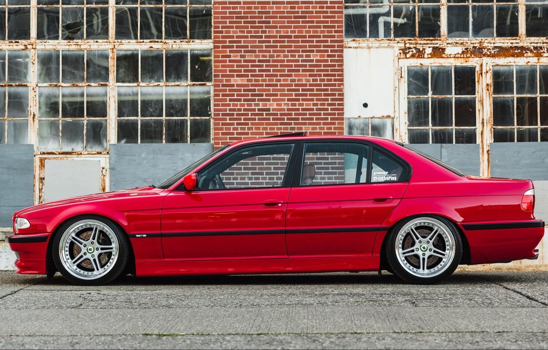 Photo wallpaper BMW, RED, 7-Series, E38