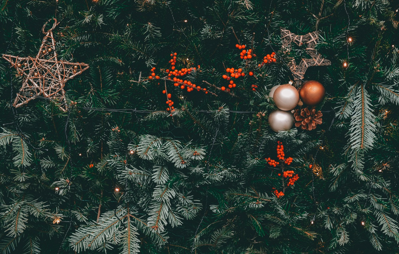 Photo wallpaper decoration, berries, holiday, balls, stars, Christmas, New year, tree, bumps