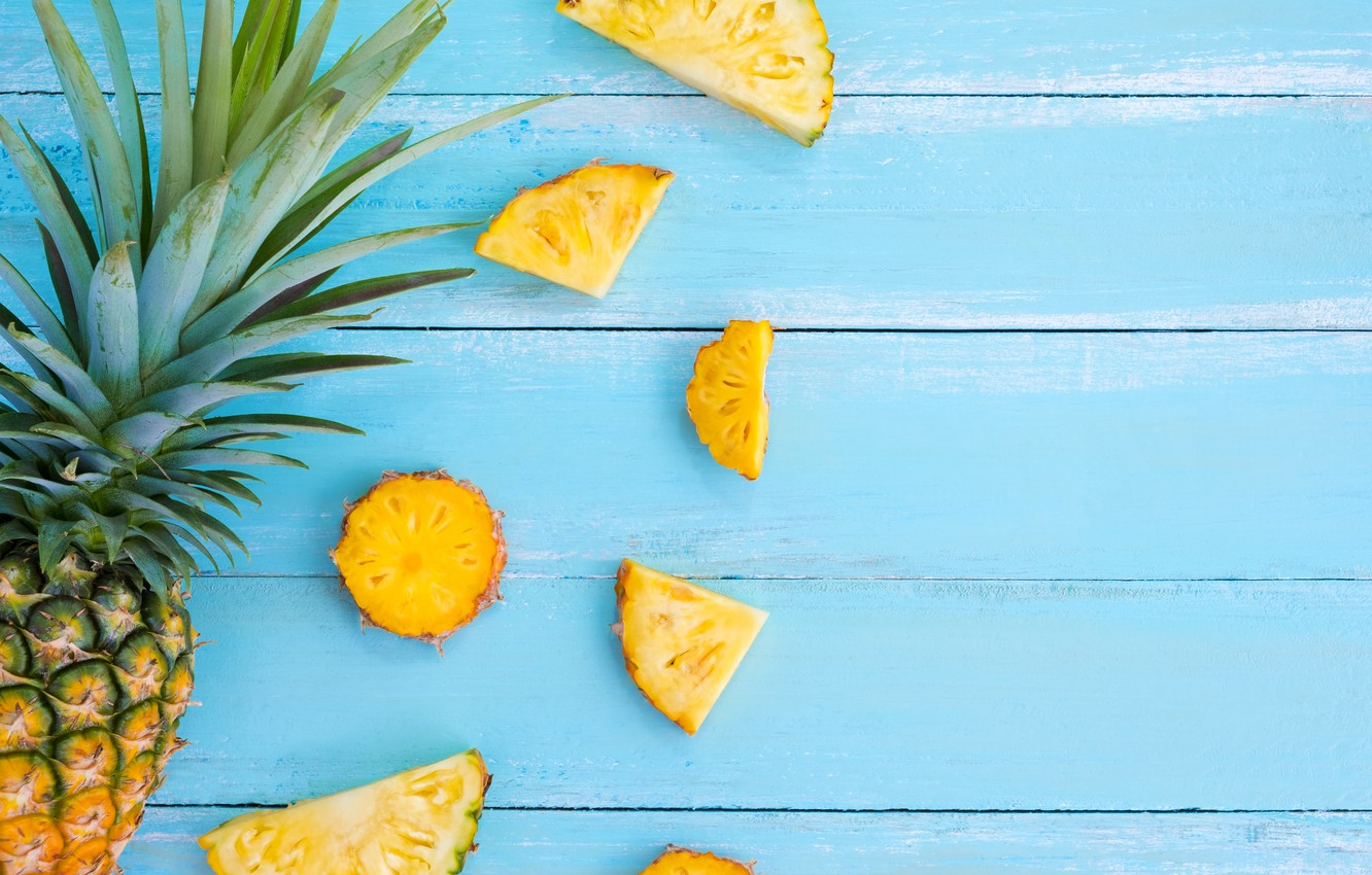 Photo wallpaper fruit, summer, pineapple, wood, slices, fruit, pineapple, slice