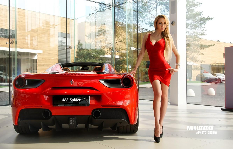 Photo wallpaper pose, model, makeup, figure, slim, dress, car, hairstyle, blonde, shoes, Ferrari, legs, is, car, in …