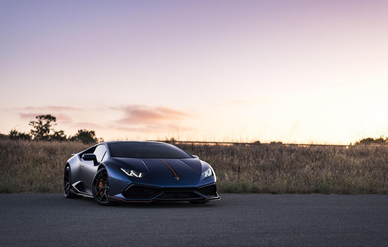 Photo wallpaper Lamborghini, Blue, Matt, Huracan
