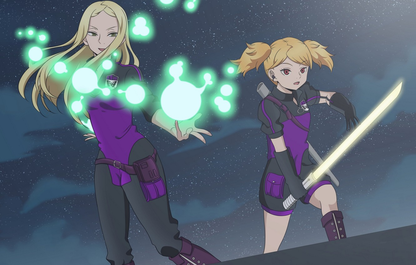 Photo wallpaper night, weapons, girls, anime, World Trigger, The pulse of the world
