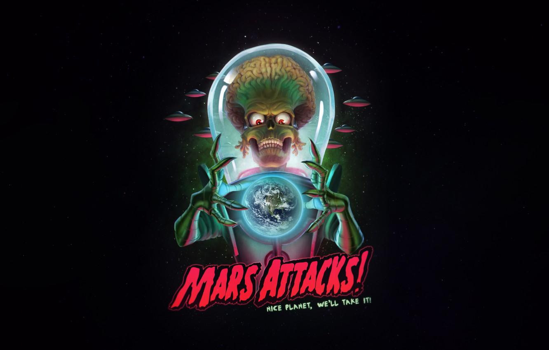 Photo wallpaper UFO, Figure, Art, Space, Art, Alien, Illustration, Mars Attacks, Mars attacks!, by Guilherme Freitas, Guilherme …