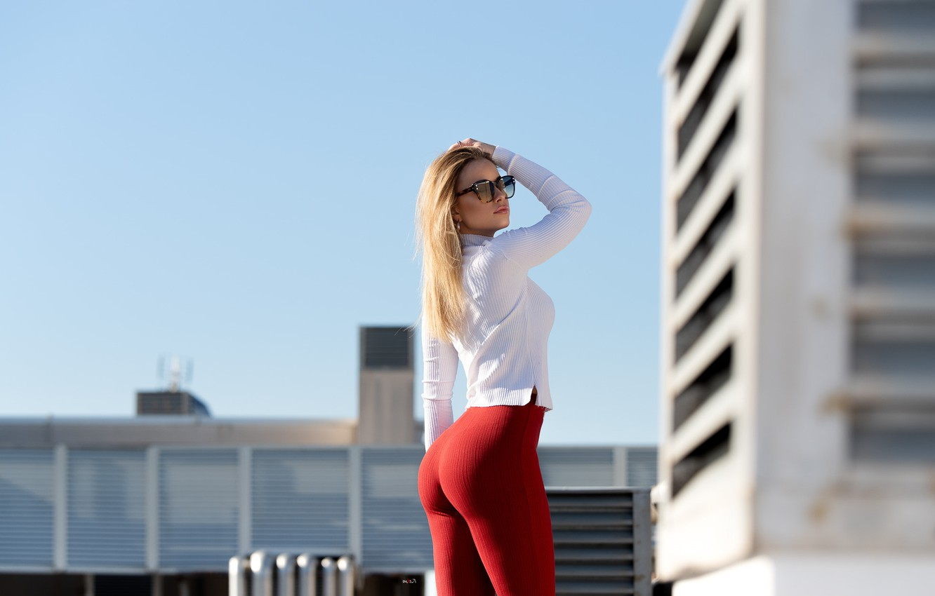 Photo wallpaper girl, Model, long hair, lips, face, shirt, sunglasses, pants, mouth, Amanda, tight pants, Mauro Saranga, …