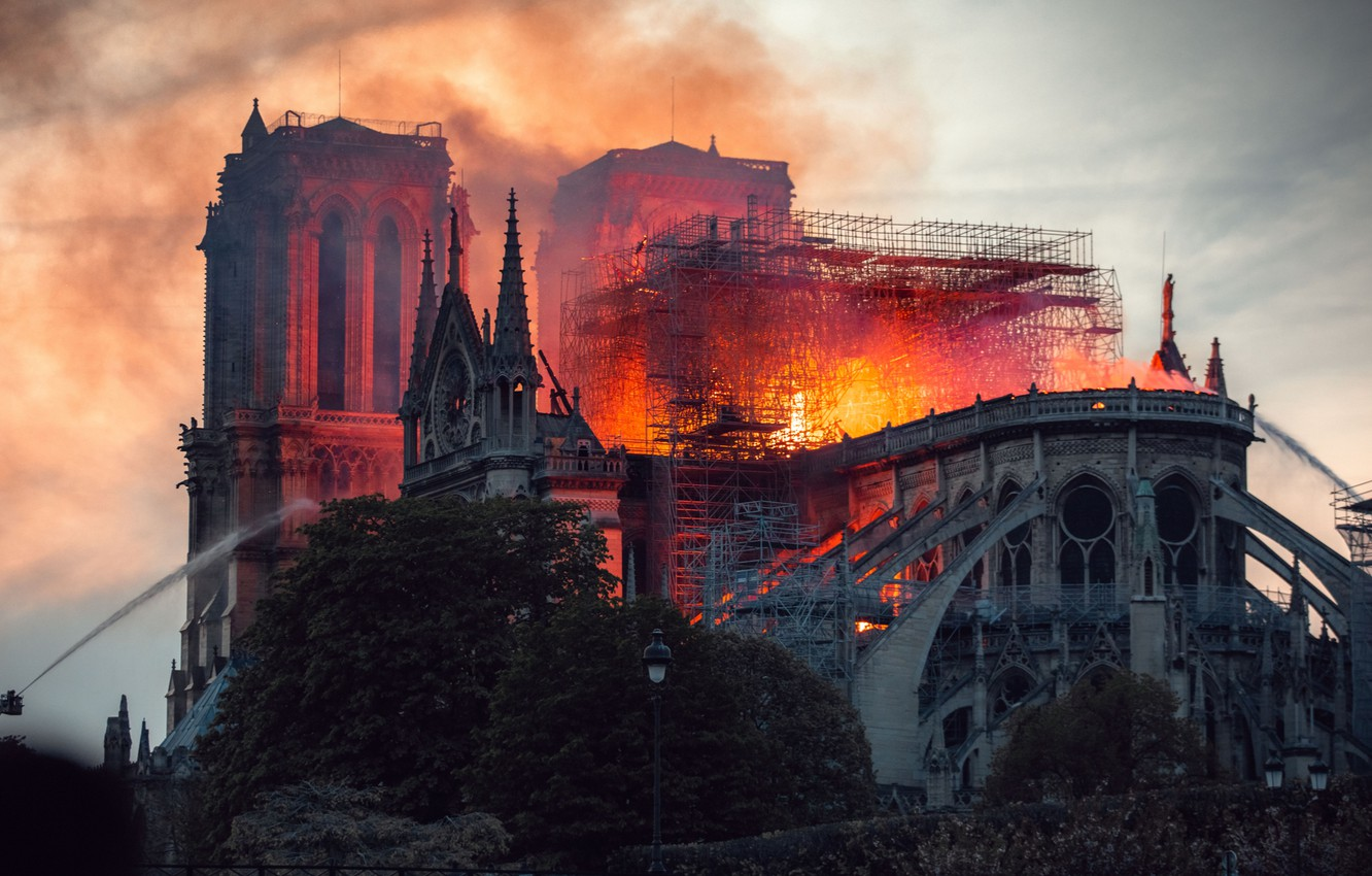 Photo wallpaper fire, Paris, France, Notre Dame Cathedral