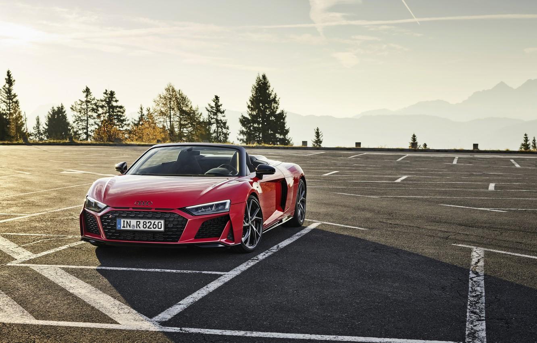 Photo wallpaper mountains, Audi, Parking, Audi R8, Spyder, V10, 2020, RWD