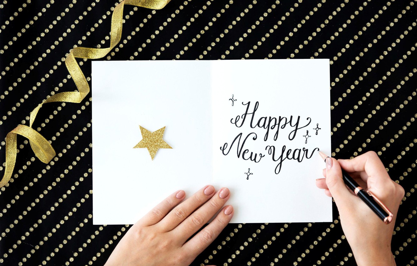 Photo wallpaper the inscription, star, new year, hands, postcard