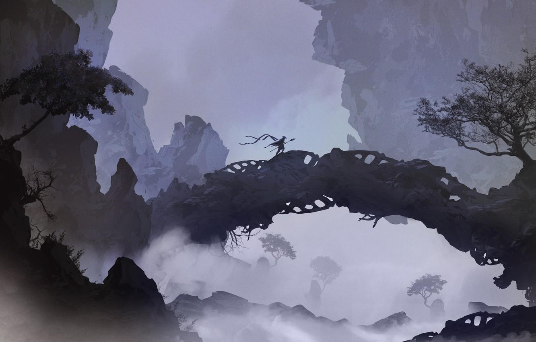 Photo wallpaper Mountains, Bridge, Figure, Silhouette, Warrior, Landscape, Art, Landscapes, Digital Art, TacoSauceNinja, by TacoSauceNinja, I used …