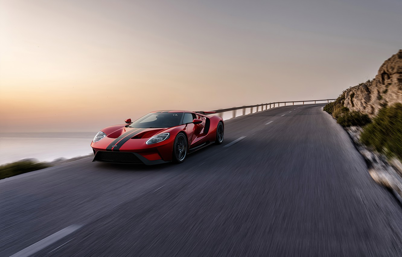 Photo wallpaper sunset, coast, speed, Ford, the evening, supercar, Ford GT