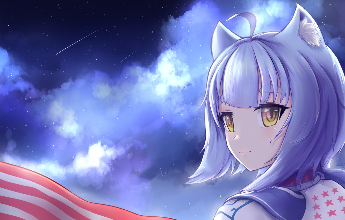Photo wallpaper the sky, clouds, girl, ears