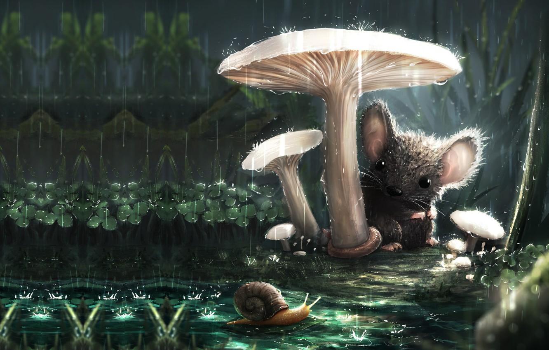 Photo wallpaper the rain, summer, mushroom, snail, mouse, art, friends, children's, familiarity, Sebastian Montecinos, A new friend