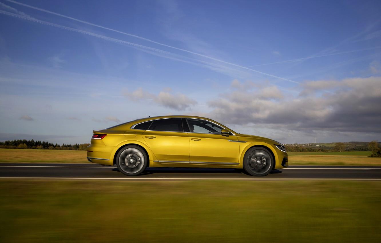 Photo wallpaper yellow, plain, Volkswagen, profile, 2018, R-Line, liftback, 2017, Arteon