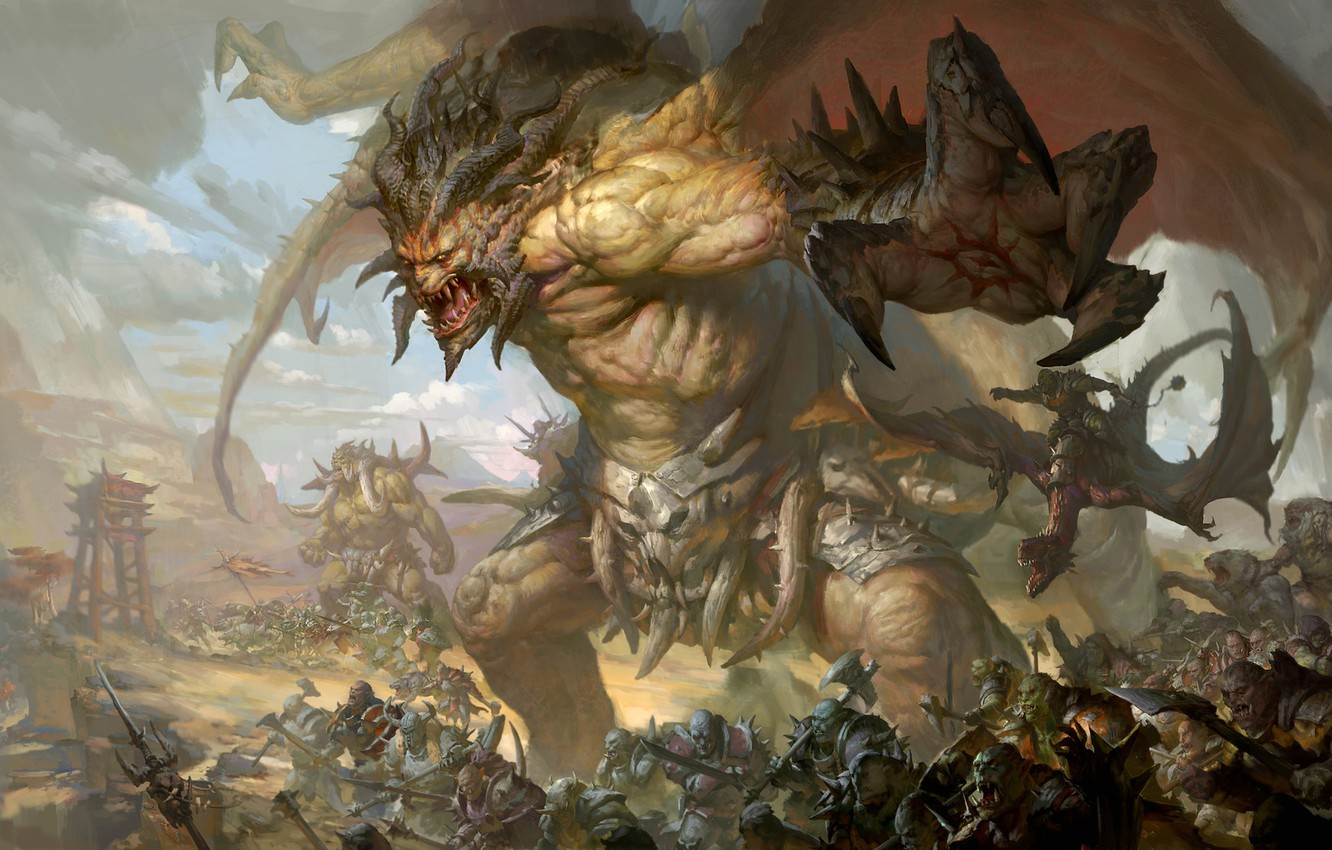 Wallpaper Face Attack Army Mouth Monsters Claws Horns The Battle Orcs Giants Black Wings Evil Muscles The King Of Beasts Images For Desktop Section Igry Download