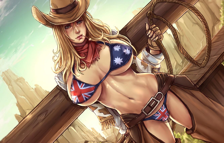 Photo wallpaper girl, hat, the cowboy