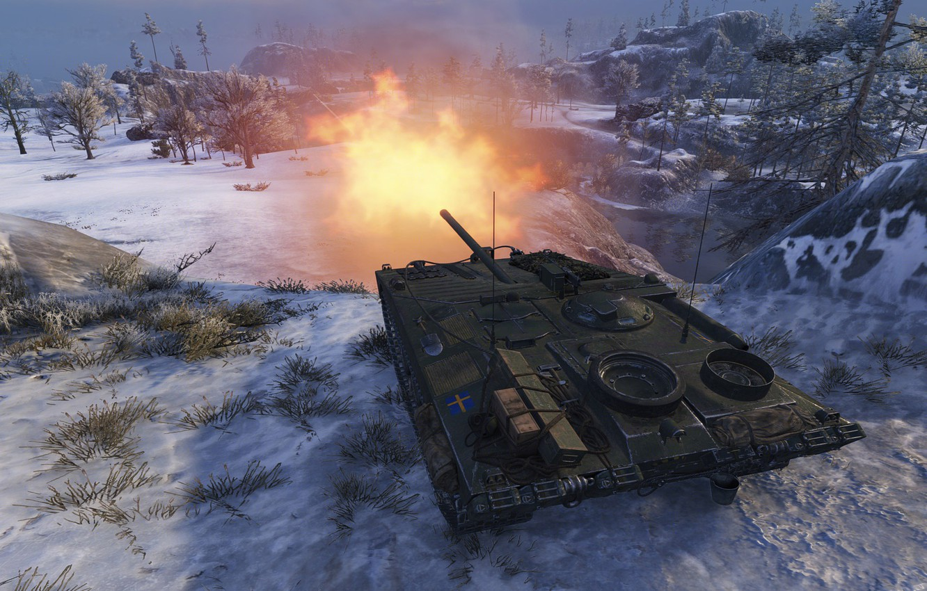 Photo wallpaper the game, shot, game, Sweden, volley, Sweden, installation, bitch, self-propelled, shot, wot, World Of Tanks, …