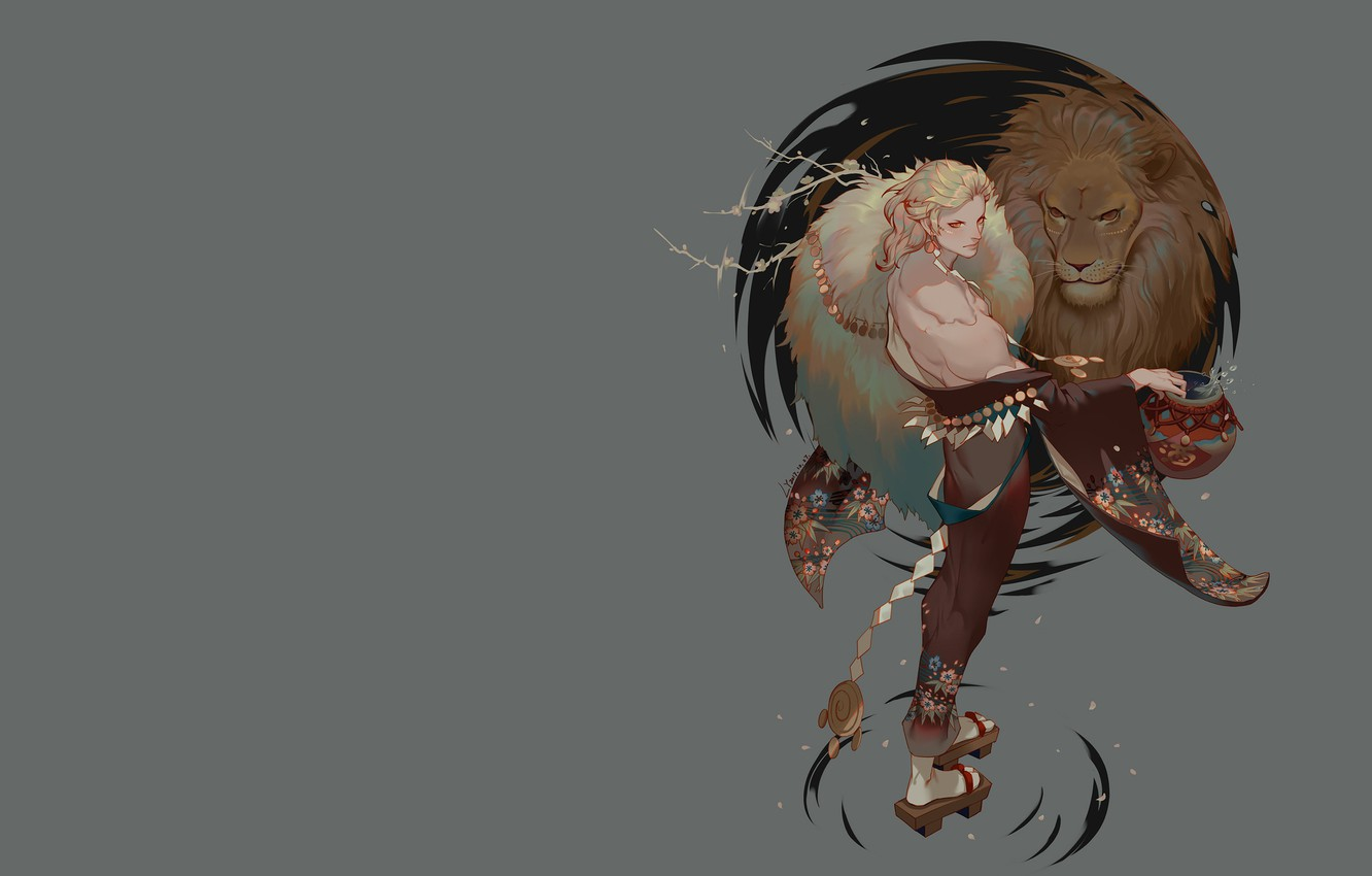 Photo wallpaper Leo, anime, art, guy, LY 炼 妖, The lion seat