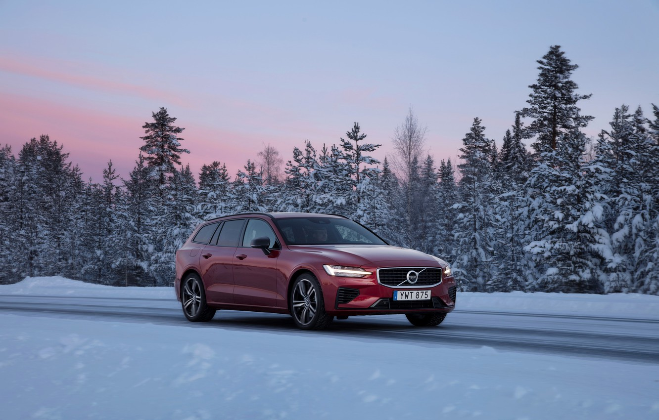 Photo wallpaper winter, road, car, snow, trees, design, Volvo, road, trees, design, sunset, winter, snow, Burgundy, Volvo …