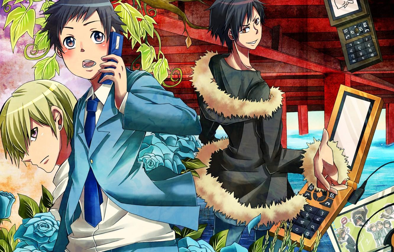 Photo wallpaper guys, phones, Durarara, Durarara, Of Izaya Orihara, Mikado Ryugamine