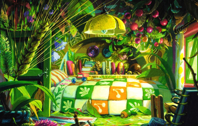 Photo wallpaper room, green leaves, books, ear, bed, Hayao Miyazaki, meadow flowers, bedroom, berries, Arietti from the …