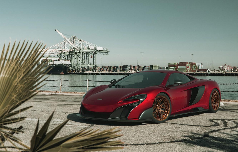Photo wallpaper McLaren, Red, Port, Machine, The ship, Render, Supercar, Lighting, Rendering, Sports car, Red, 675LT, McLaren …