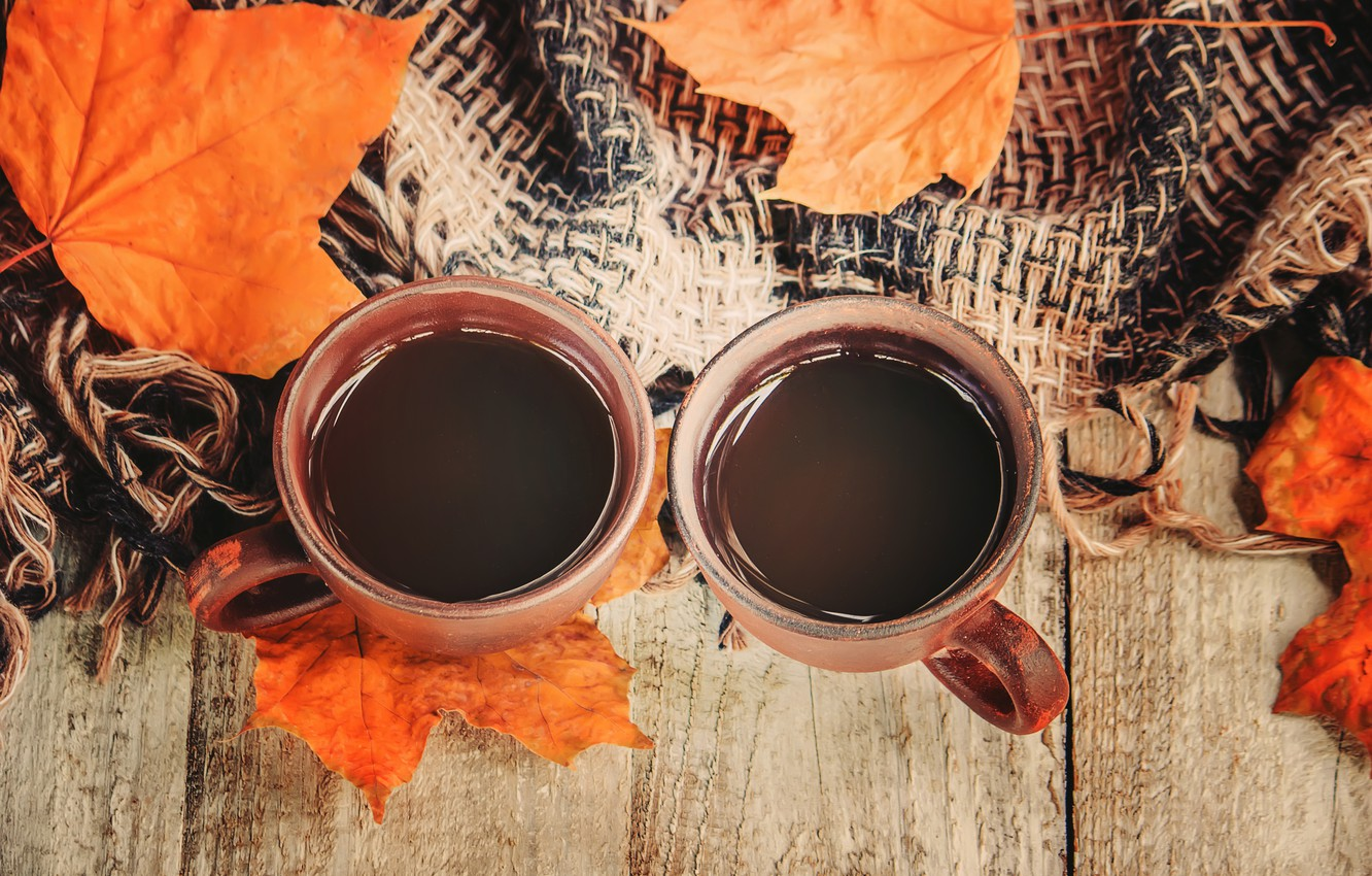 Photo wallpaper autumn, leaves, plaid, wood, autumn, leaves, coffee cup, a Cup of coffee