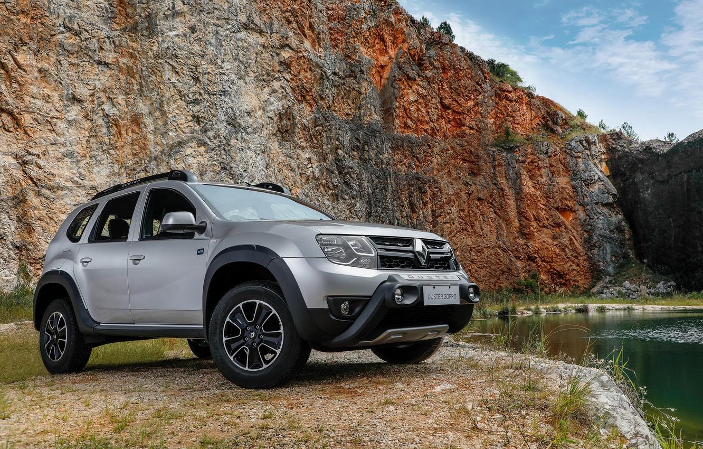 Photo wallpaper auto, lake, rocks, Renault, Duster