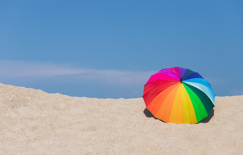 Photo wallpaper sand, beach, summer, umbrella, colorful, rainbow, summer, beach, umbrella, sand, rainbow
