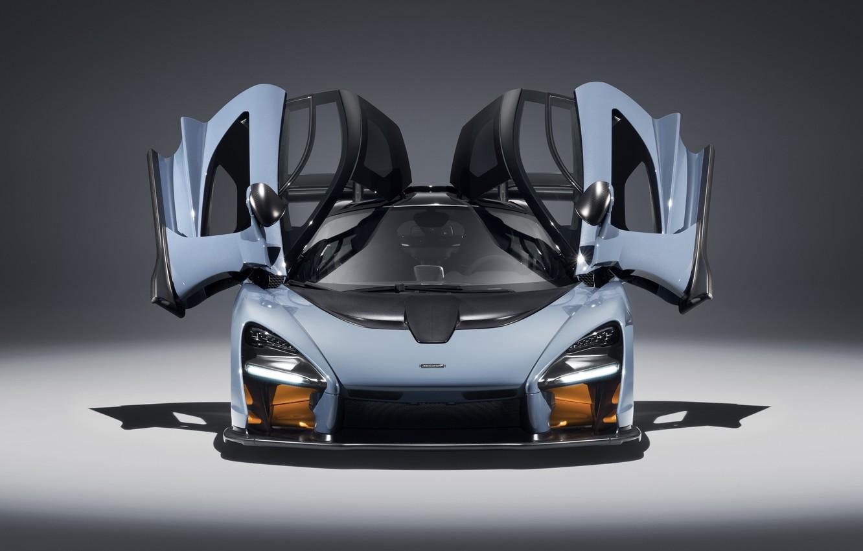 Photo wallpaper McLaren, supercar, front view, 2018, Senna, Victory Grey