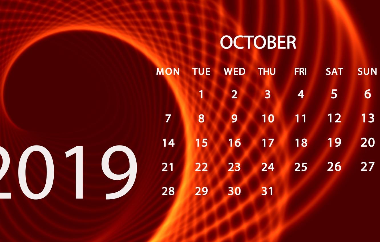 Photo wallpaper October, calendar, 2019