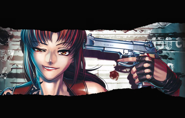 Photo wallpaper Black Lagoon, Revy, girl, gun, weapon, anime, artwork, black background, anime girl