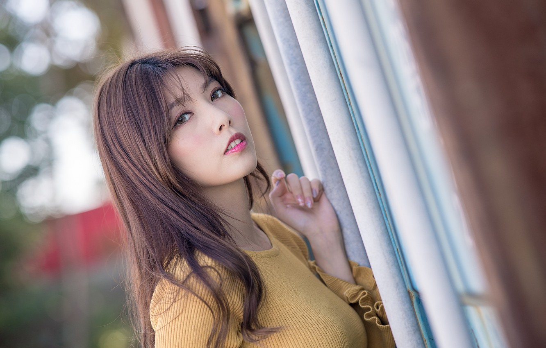 Photo wallpaper look, girl, hair, Asian