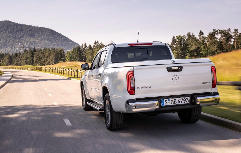 Photo wallpaper road, white, Mercedes-Benz, back, pickup, 2018, X-Class