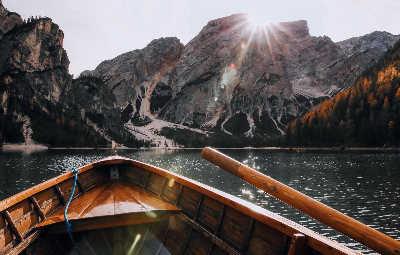 Photo wallpaper rock, river, landscape, nature, water, scenic, mountain, lake, snow, boat, sunlight, hd wallpaper, daylight