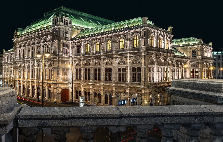 Photo wallpaper road, night, bridge, lights, Austria, lights, Palace, the parapet, Vienna, State Opera