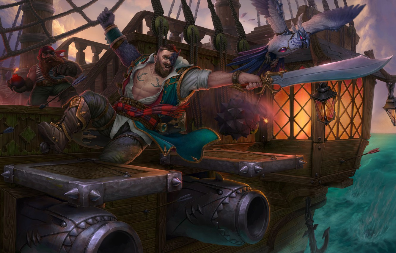 Photo wallpaper sea, ship, fantasy, art, pirate, gun, Pirate, Eugene Rudakov, abortar
