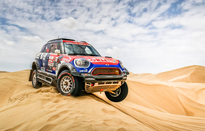Photo wallpaper Sand, Auto, Mini, Sport, Desert, Machine, Race, Car, Rally, Dakar, Dakar, SUV, Rally, Dune, X-Raid …