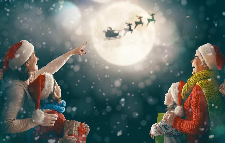 Photo wallpaper photo, The sky, The moon, Flight, Children, New year, Family, Girls, Deer, Mom, Men, Gifts, …