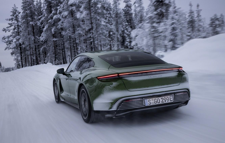 Photo wallpaper snow, Porsche, green, winter road, 2020, Taycan, Taycan 4S
