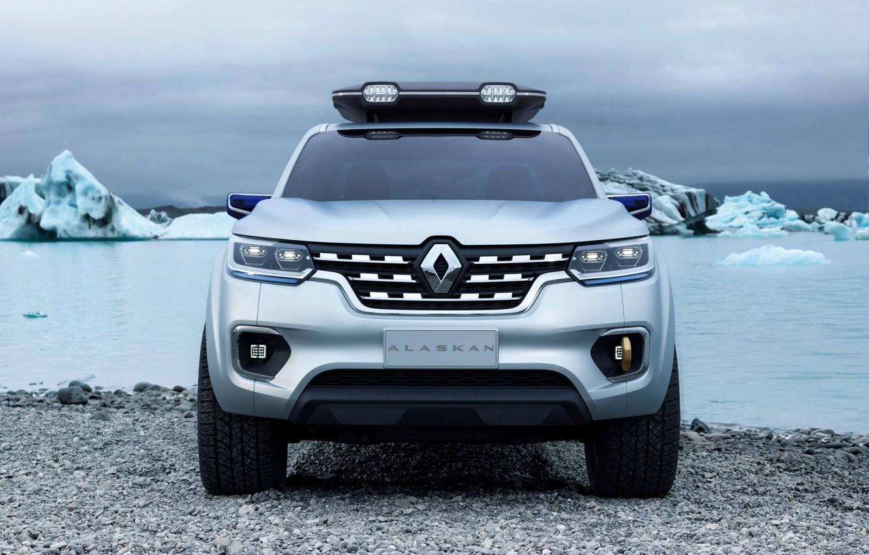 Photo wallpaper shore, silver, Renault, front view, pickup, 2015, Alaskan Concept