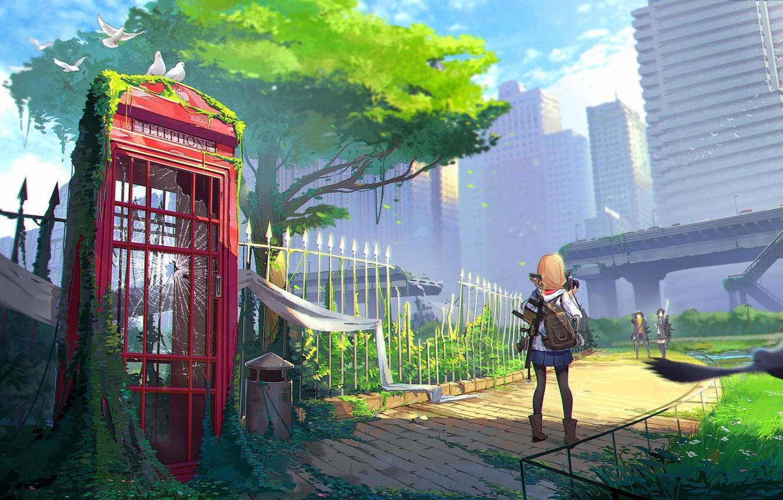 Photo wallpaper girl, street, anime