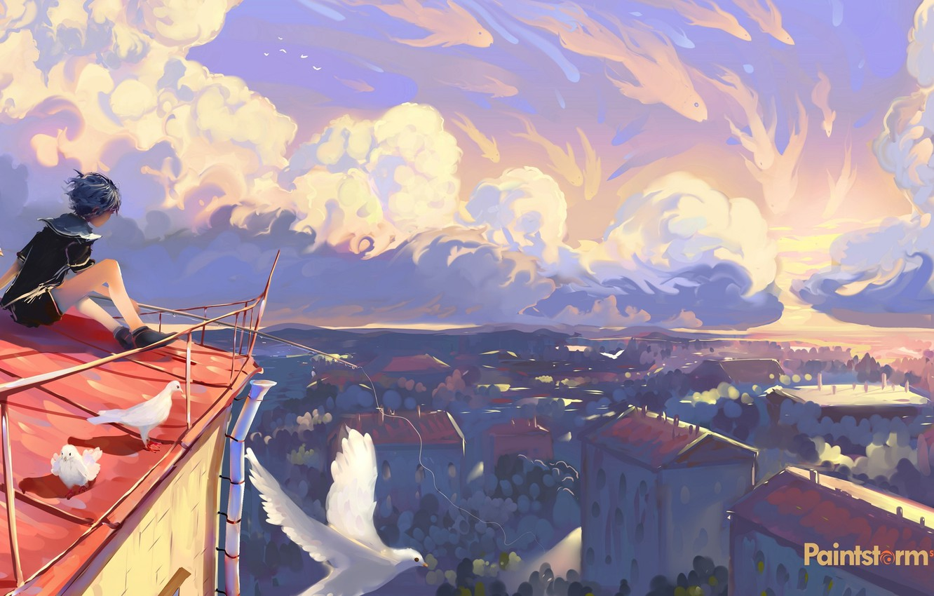 Photo wallpaper the sky, boy, pigeons, sitting, the view from the top, art, on the roof, sailor, …