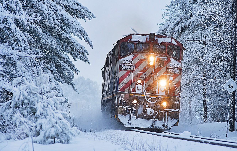 Photo wallpaper winter, forest, snow, trees, train, locomotive