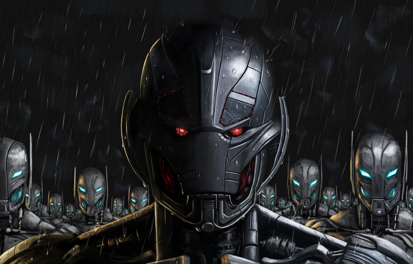 Photo wallpaper Robot, Rain, Army, Marvel, Marvel Comics, Comics, The Avengers, Characters, Ultron, Ultron, Ultron with friends, …