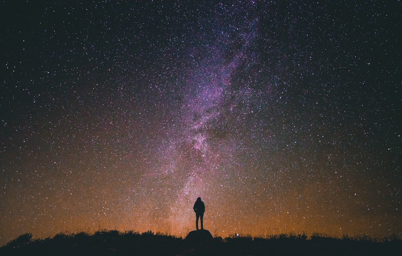 Photo wallpaper GIRL, NIGHT, STARS, SILHOUETTE, The WAY, MILKY
