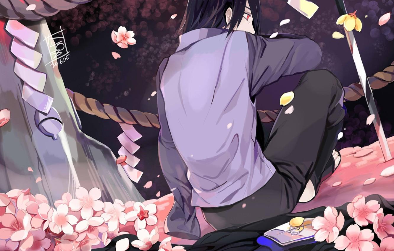 Photo wallpaper back, katana, rope, cloak, Sasuke Uchiha, Naruto Shippuden, Naruto shippuuden, the cherry blossoms