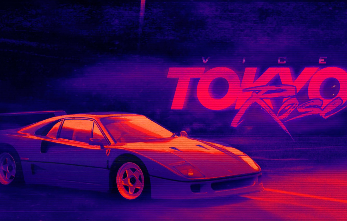 Wallpaper Music Background 80s Neon Ferrari F40 Vice 80 S Synth Retrowave Synthwave New Retro Wave Ferrari F 40 Futuresynth Sintav Retrouve Outrun Images For Desktop Section музыка Download