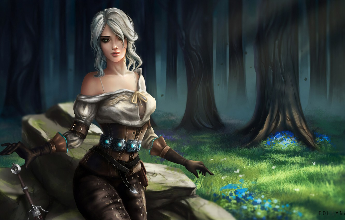 Wallpaper Girl The Game Forest Art The Witcher Digital Art