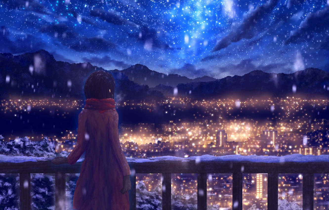 Photo wallpaper winter, the sky, snow, mountains, night, the city, drawings, girl